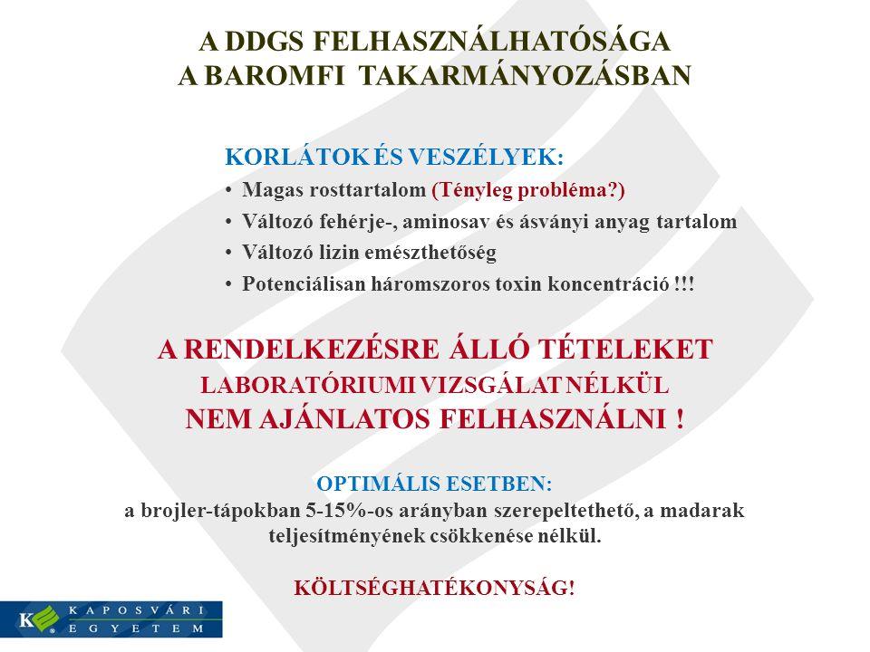 A DDGS FELHASZNÁLHATÓSÁGA A BAROMFI TAKARMÁNYOZÁSBAN