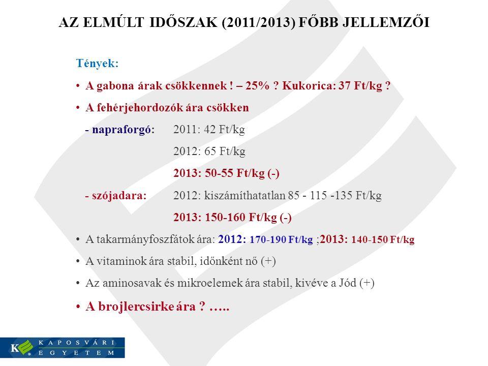 AZ ELMÚLT IDŐSZAK (2011/2013) FŐBB JELLEMZŐI
