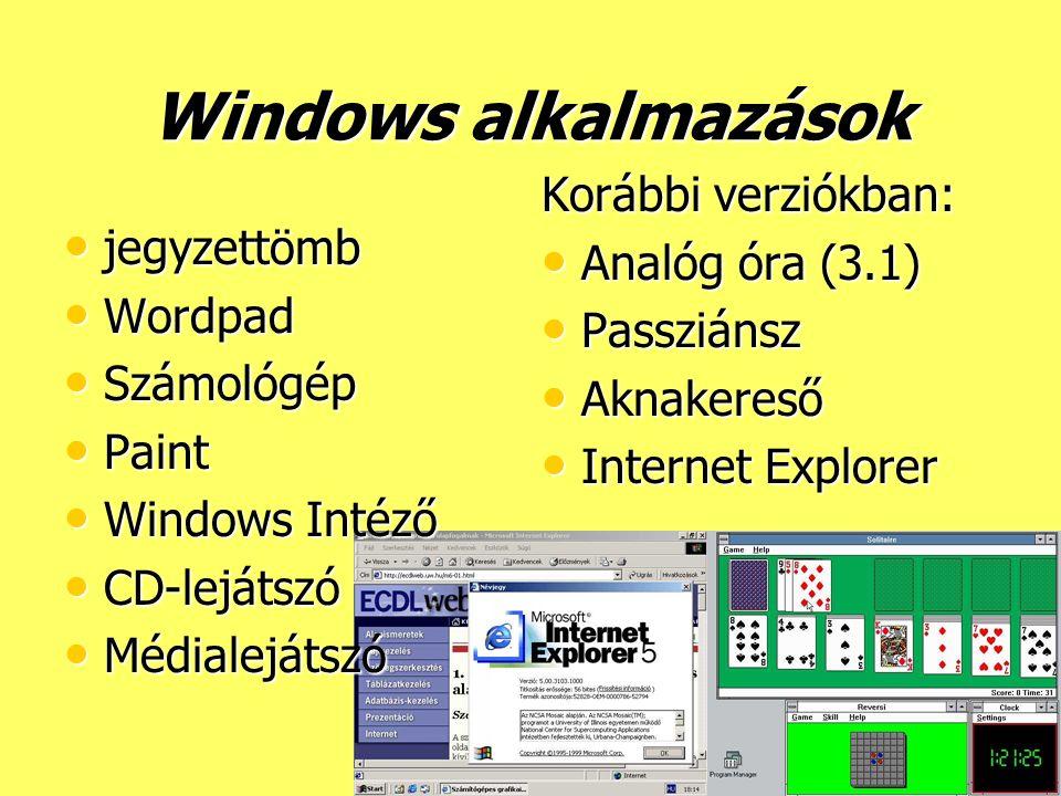 Windows alkalmazások Korábbi verziókban: Analóg óra (3.1) jegyzettömb