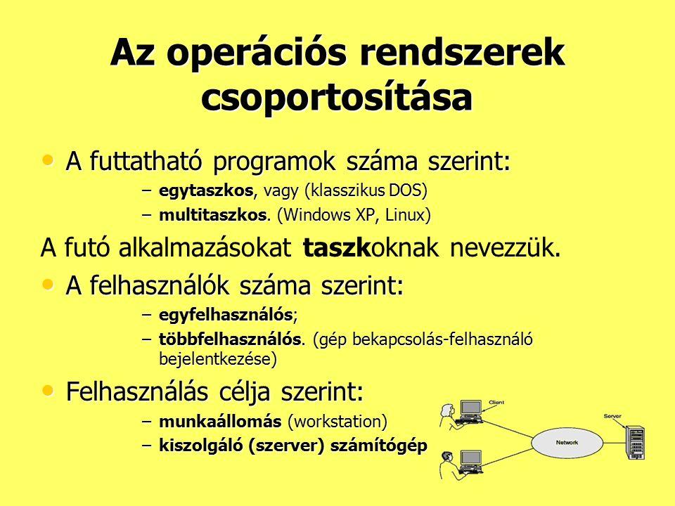 Az operációs rendszerek csoportosítása