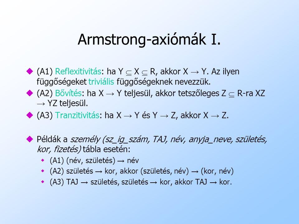 Armstrong-axiómák I. (A1) Reflexitivitás: ha Y  X  R, akkor X → Y. Az ilyen függőségeket triviális függőségeknek nevezzük.