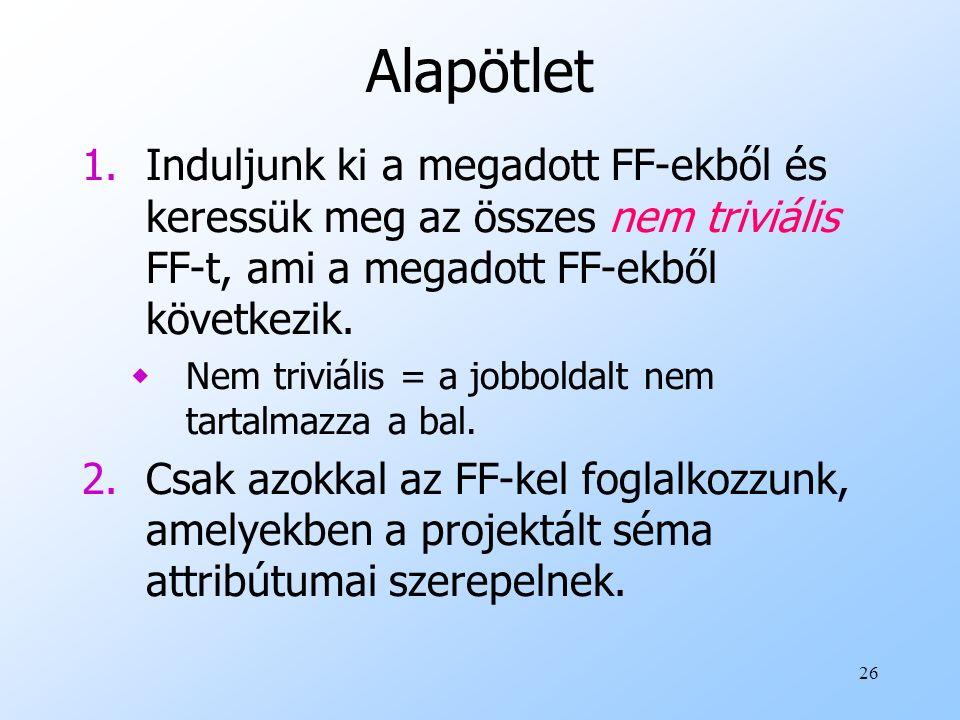 Alapötlet Induljunk ki a megadott FF-ekből és keressük meg az összes nem triviális FF-t, ami a megadott FF-ekből következik.