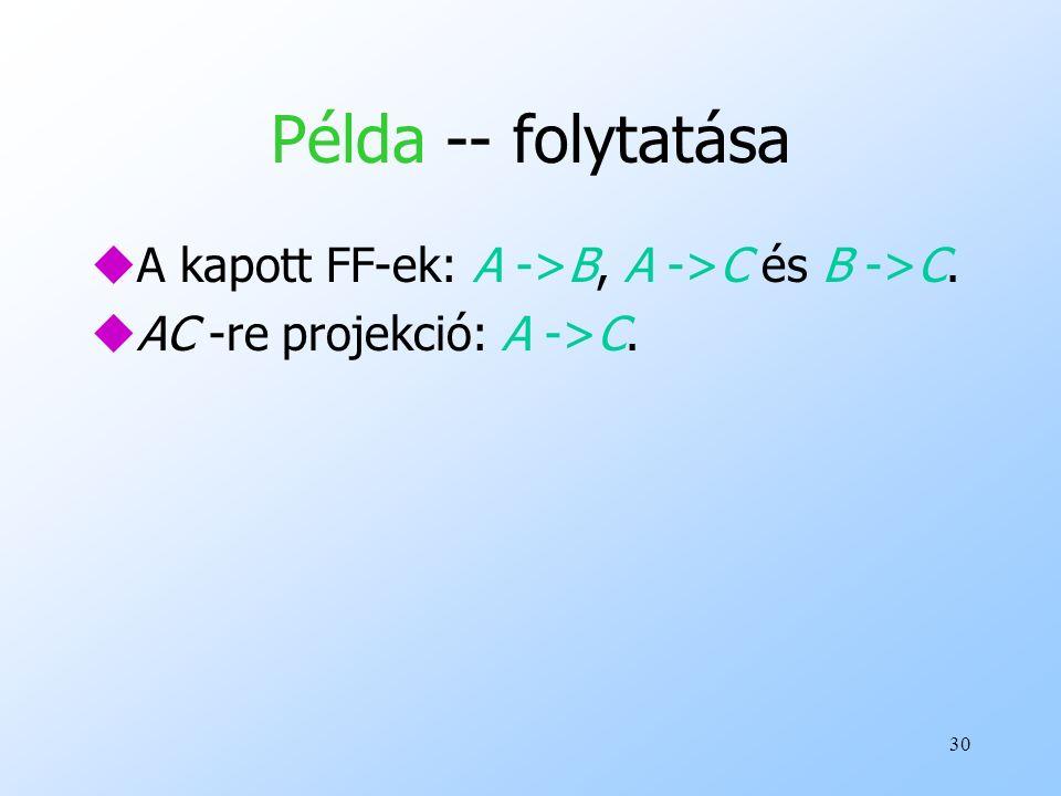 Példa -- folytatása A kapott FF-ek: A ->B, A ->C és B ->C.