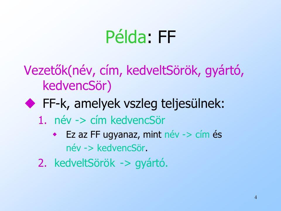 Példa: FF Vezetők(név, cím, kedveltSörök, gyártó, kedvencSör)