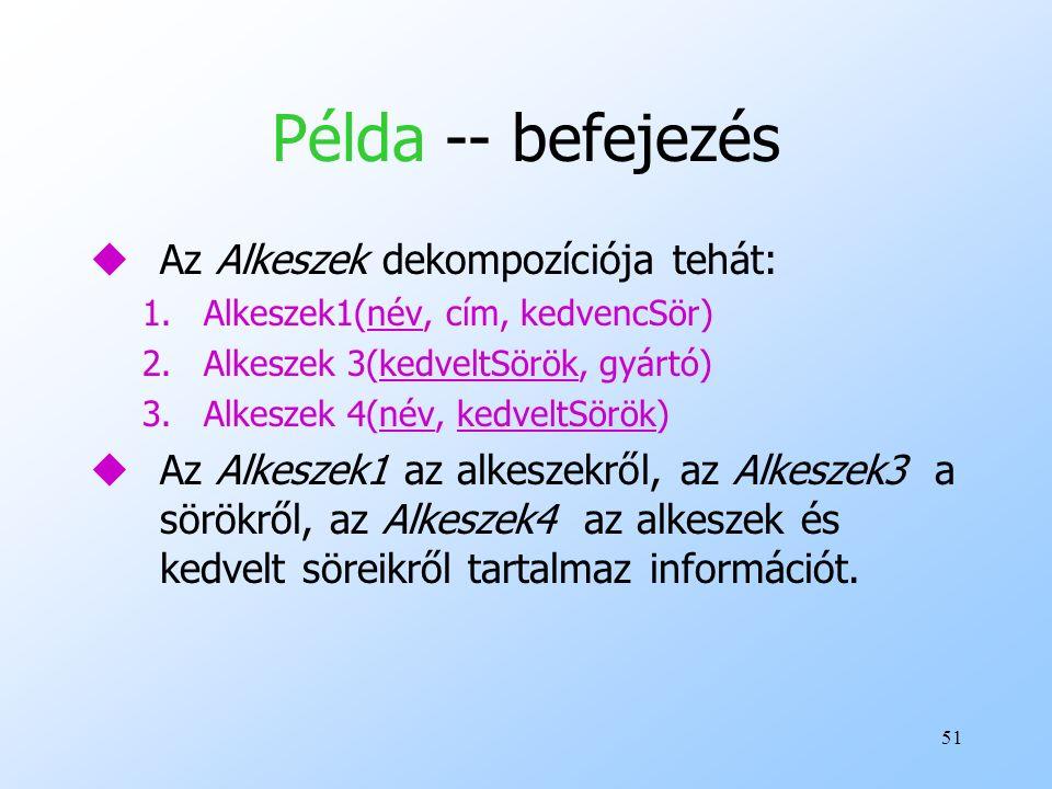 Példa -- befejezés Az Alkeszek dekompozíciója tehát:
