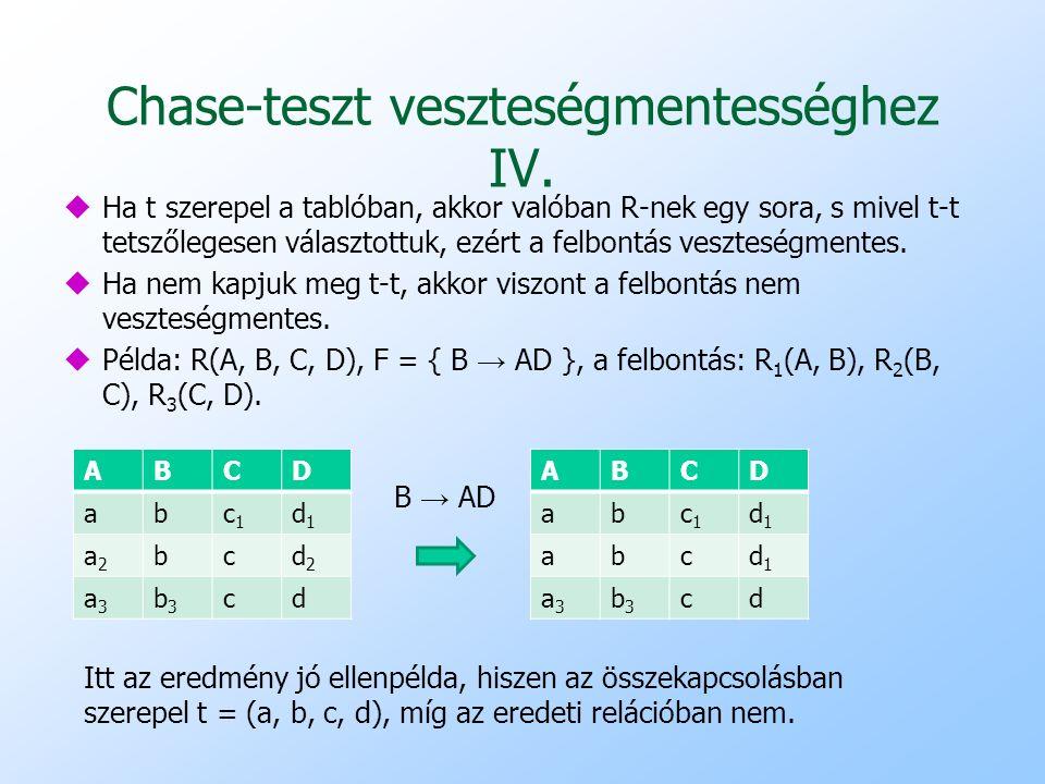 Chase-teszt veszteségmentességhez IV.