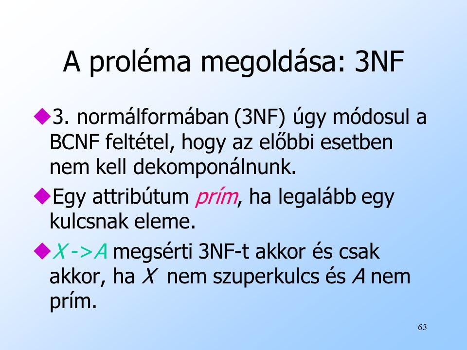 A proléma megoldása: 3NF