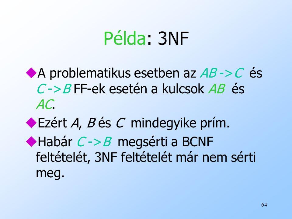 Példa: 3NF A problematikus esetben az AB ->C és C ->B FF-ek esetén a kulcsok AB és AC. Ezért A, B és C mindegyike prím.