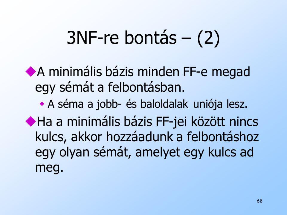 3NF-re bontás – (2) A minimális bázis minden FF-e megad egy sémát a felbontásban. A séma a jobb- és baloldalak uniója lesz.