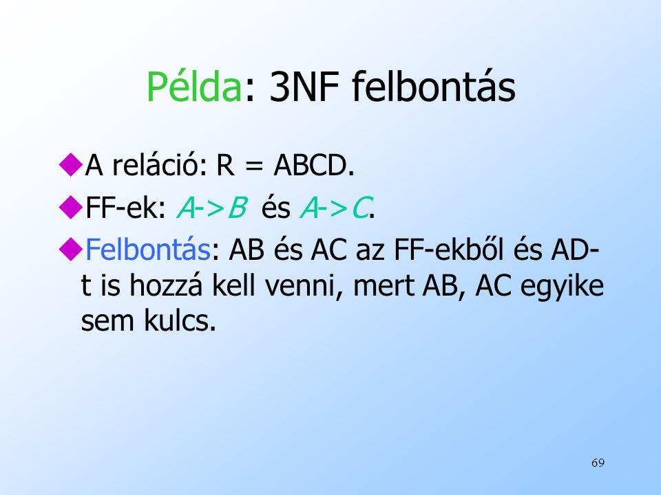Példa: 3NF felbontás A reláció: R = ABCD. FF-ek: A->B és A->C.