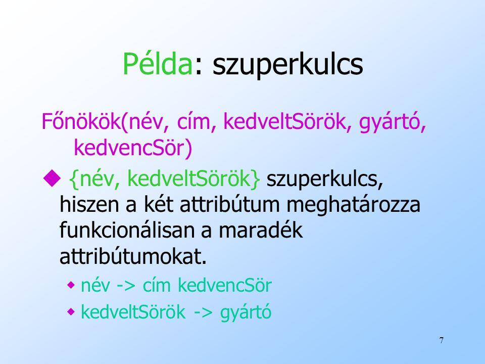 Példa: szuperkulcs Főnökök(név, cím, kedveltSörök, gyártó, kedvencSör)