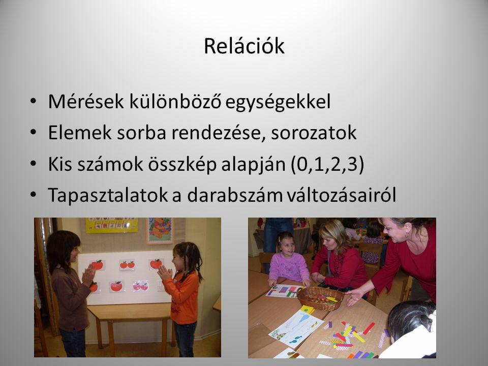 Relációk Mérések különböző egységekkel