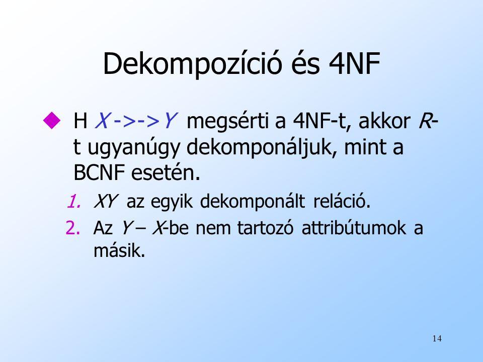 Dekompozíció és 4NF H X ->->Y megsérti a 4NF-t, akkor R-t ugyanúgy dekomponáljuk, mint a BCNF esetén.