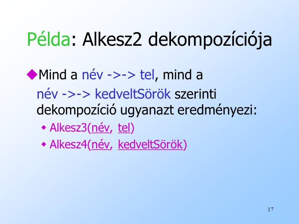 Példa: Alkesz2 dekompozíciója