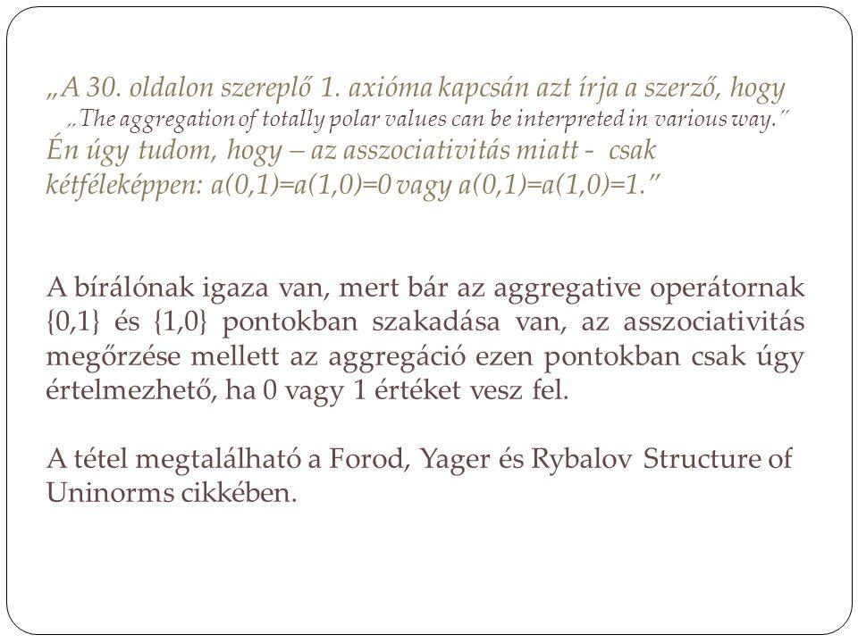 """""""A 30. oldalon szereplő 1. axióma kapcsán azt írja a szerző, hogy"""