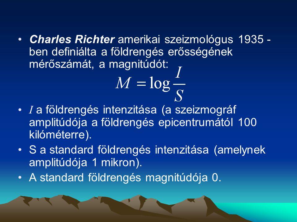 Charles Richter amerikai szeizmológus 1935 - ben definiálta a földrengés erősségének mérőszámát, a magnitúdót: