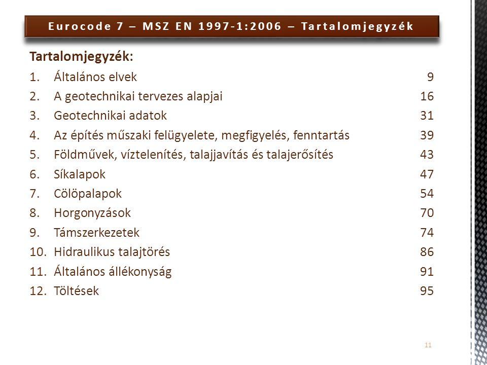 Eurocode 7 – MSZ EN 1997-1:2006 – Tartalomjegyzék