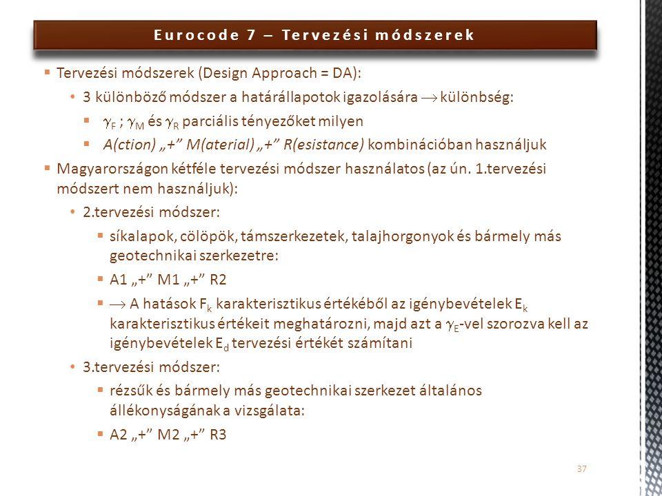 Eurocode 7 – Tervezési módszerek