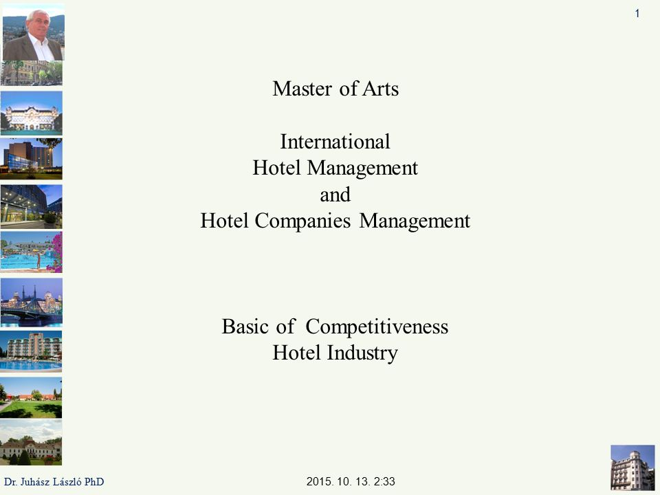 1 Master of Arts International Hotel Management and Hotel Companies Management Basic of Competitiveness Hotel Industry.