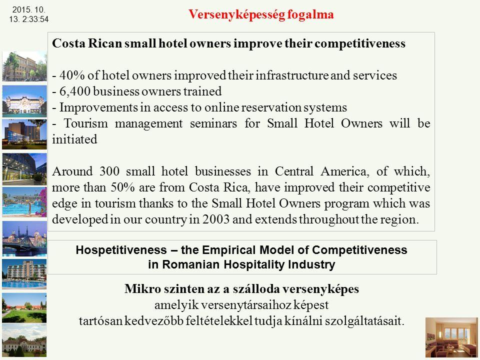 Versenyképesség fogalma Mikro szinten az a szálloda versenyképes