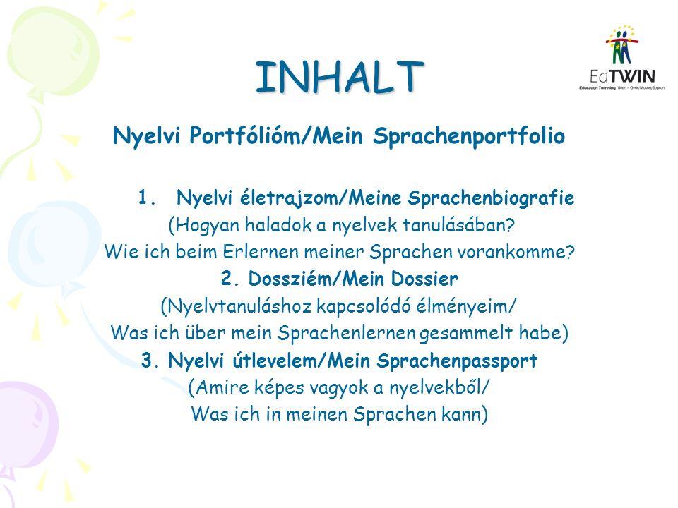 INHALT Nyelvi Portfólióm/Mein Sprachenportfolio