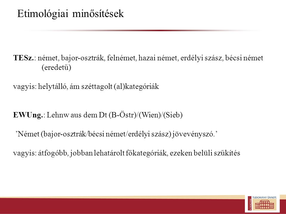 Etimológiai minősítések