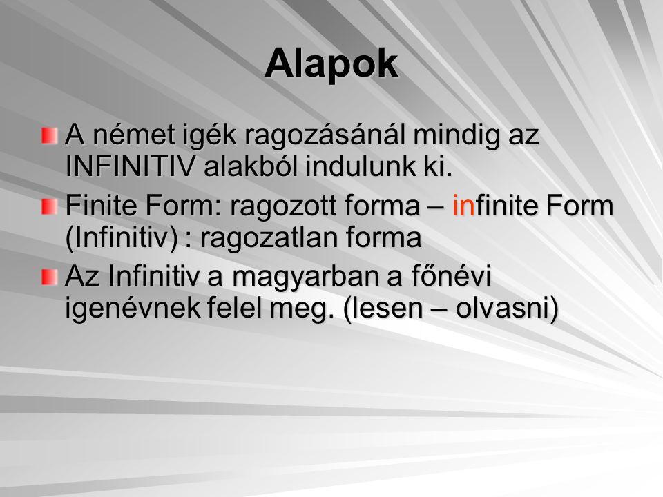 Alapok A német igék ragozásánál mindig az INFINITIV alakból indulunk ki. Finite Form: ragozott forma – infinite Form (Infinitiv) : ragozatlan forma.