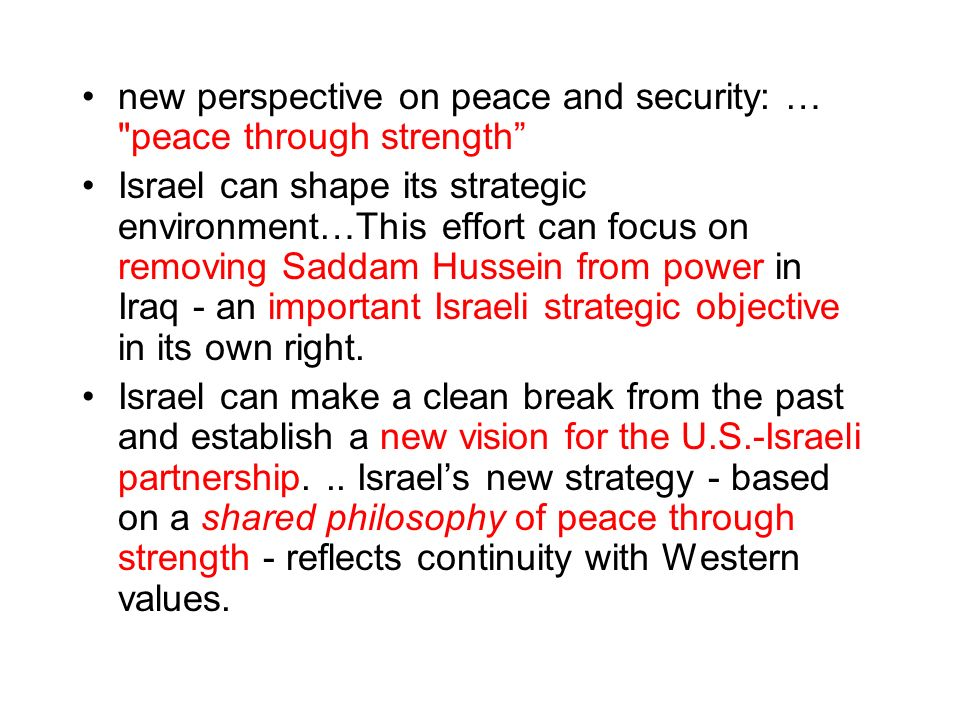 new perspective on peace and security: … peace through strength