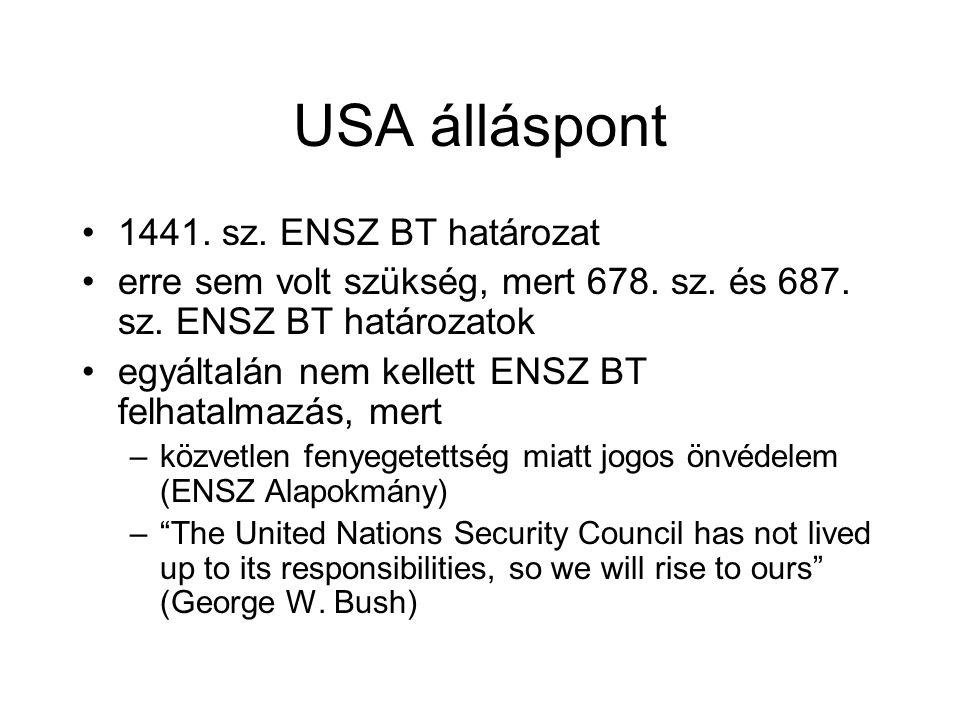 USA álláspont 1441. sz. ENSZ BT határozat
