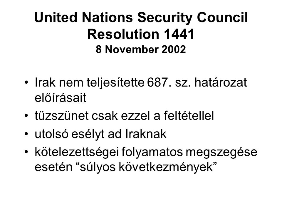 United Nations Security Council Resolution 1441 8 November 2002
