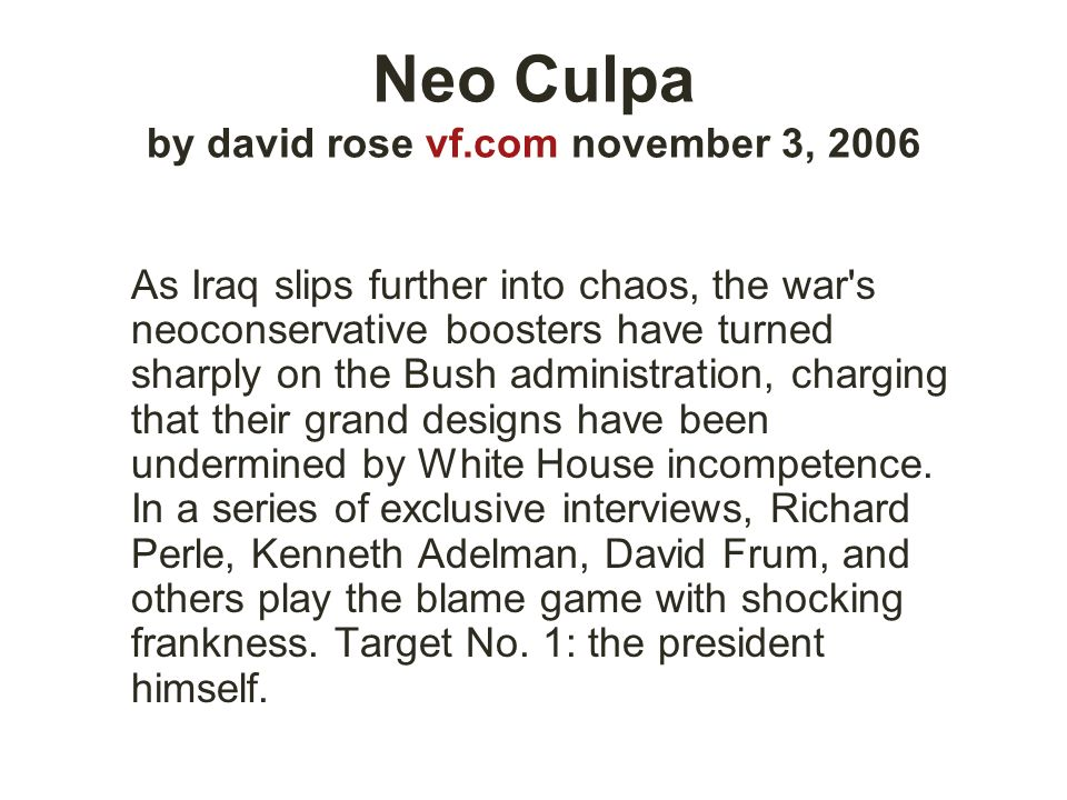 Neo Culpa by david rose vf.com november 3, 2006
