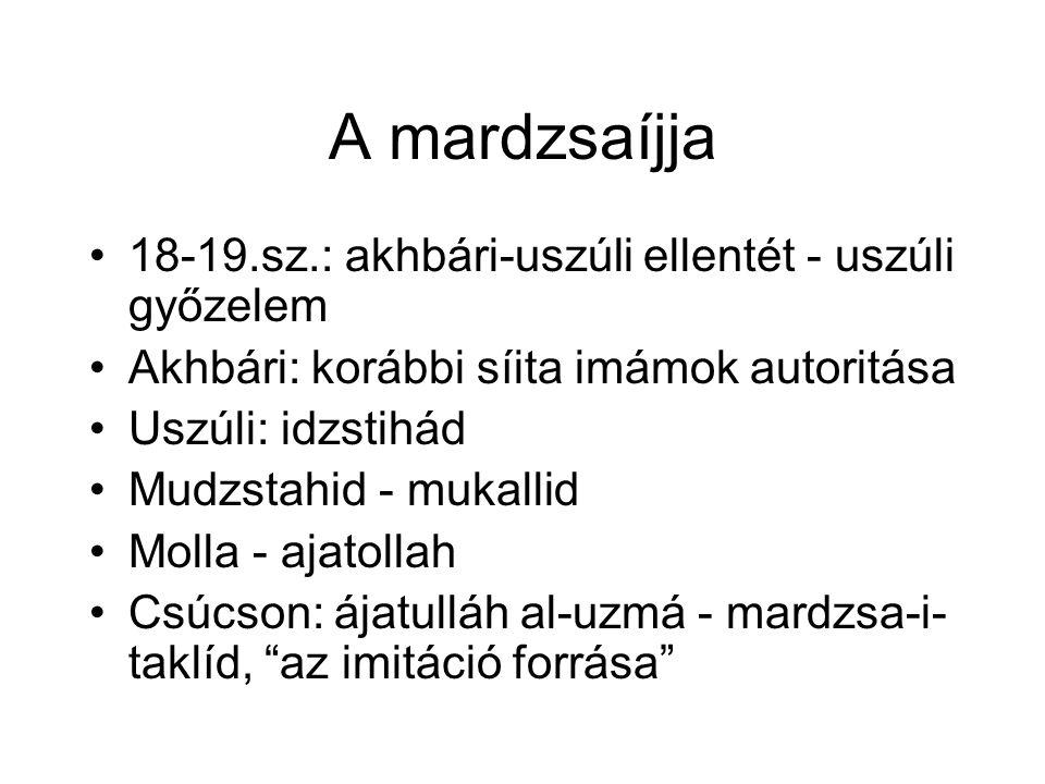 A mardzsaíjja 18-19.sz.: akhbári-uszúli ellentét - uszúli győzelem