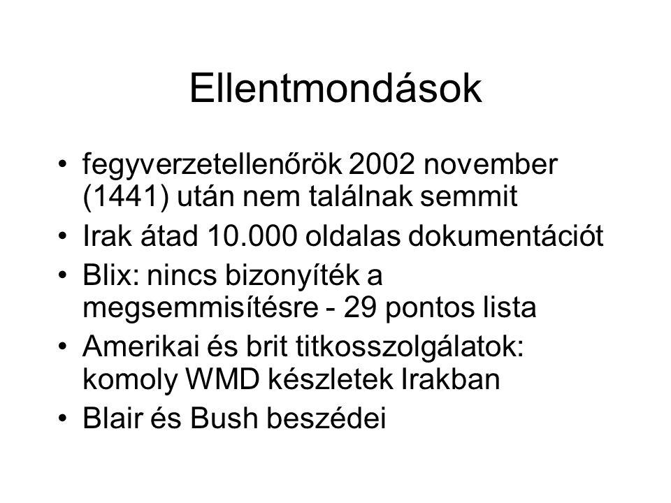 Ellentmondások fegyverzetellenőrök 2002 november (1441) után nem találnak semmit. Irak átad 10.000 oldalas dokumentációt.