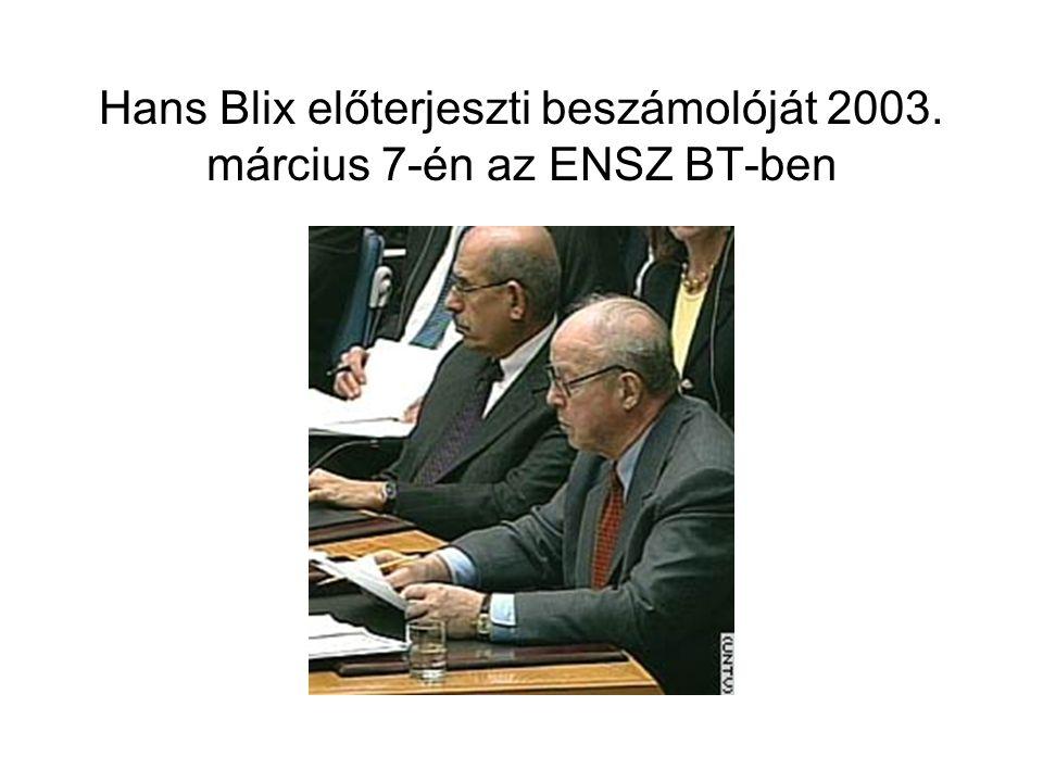 Hans Blix előterjeszti beszámolóját 2003. március 7-én az ENSZ BT-ben