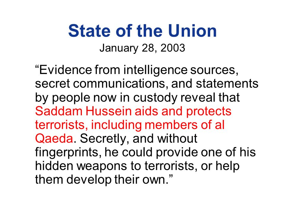 State of the Union January 28, 2003