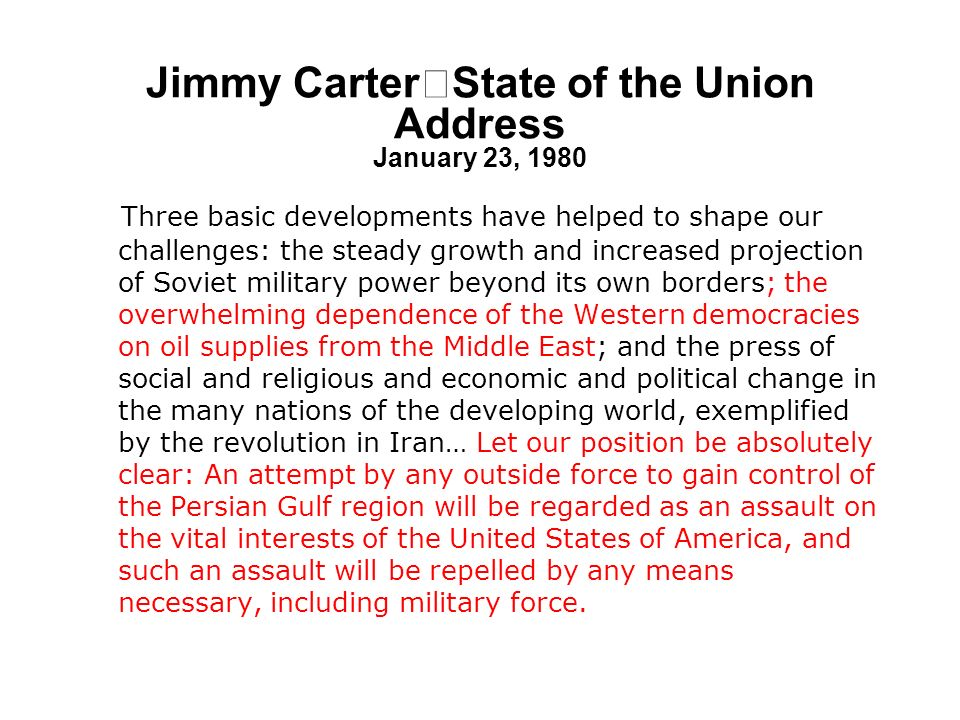 Jimmy Carter State of the Union Address January 23, 1980