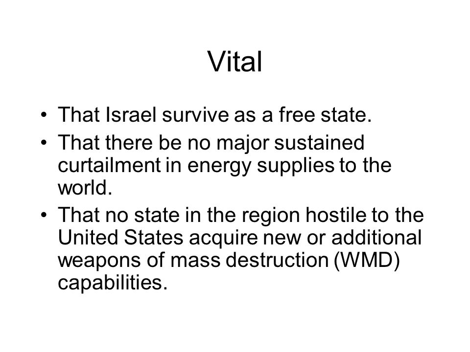Vital That Israel survive as a free state.
