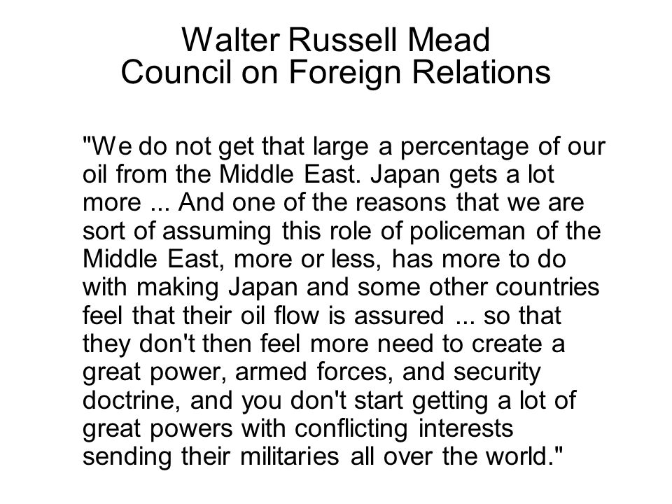 Walter Russell Mead Council on Foreign Relations