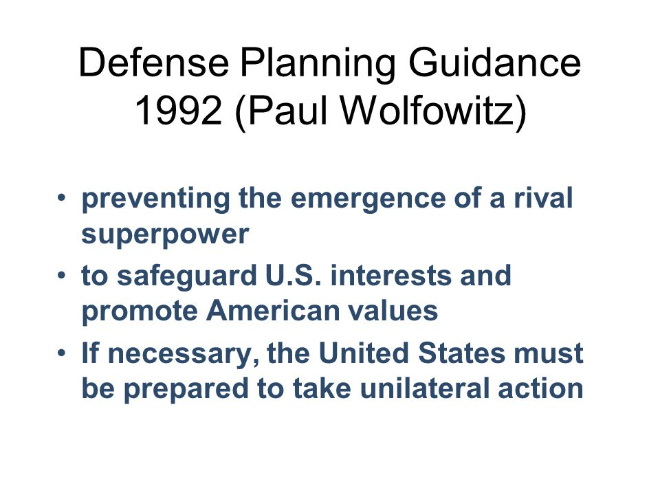 Defense Planning Guidance 1992 (Paul Wolfowitz)
