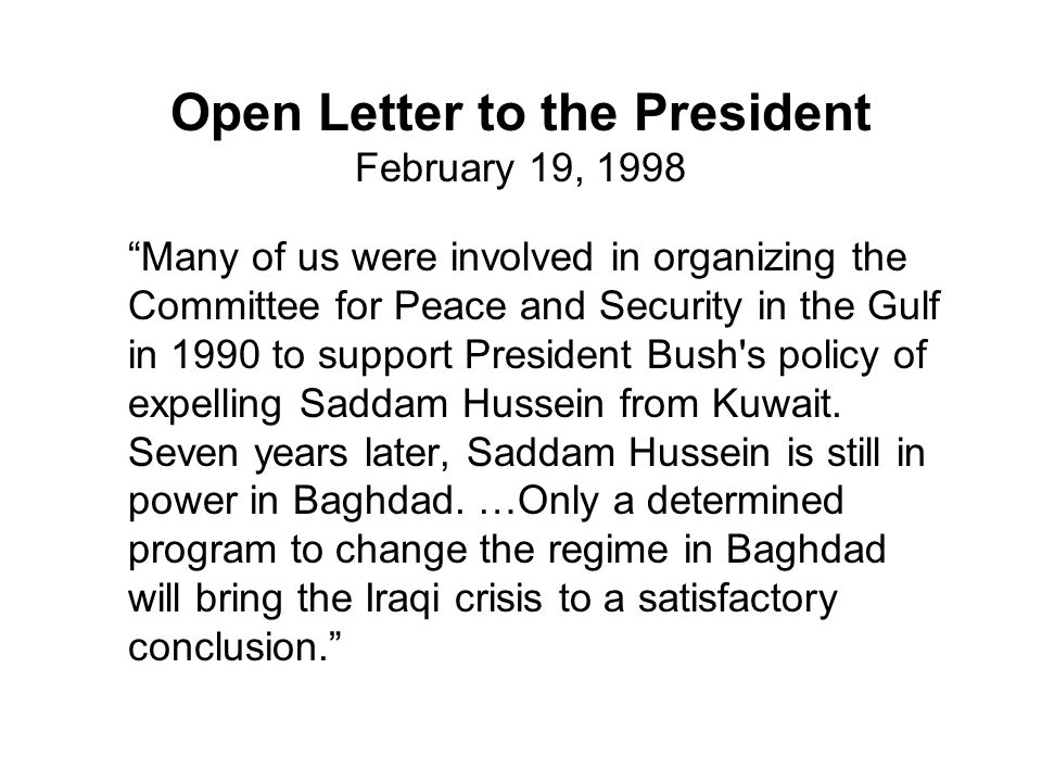 Open Letter to the President February 19, 1998