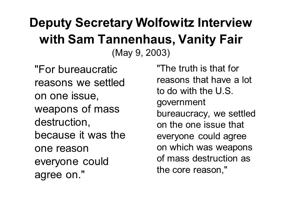 Deputy Secretary Wolfowitz Interview with Sam Tannenhaus, Vanity Fair (May 9, 2003)