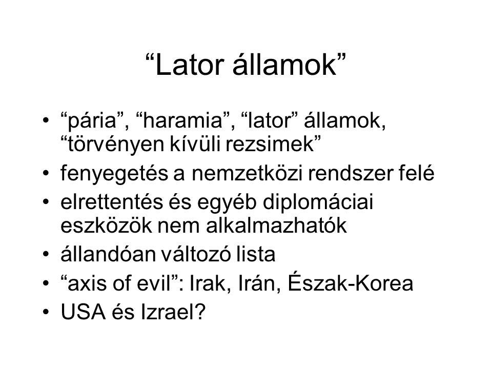 Lator államok pária , haramia , lator államok, törvényen kívüli rezsimek fenyegetés a nemzetközi rendszer felé.