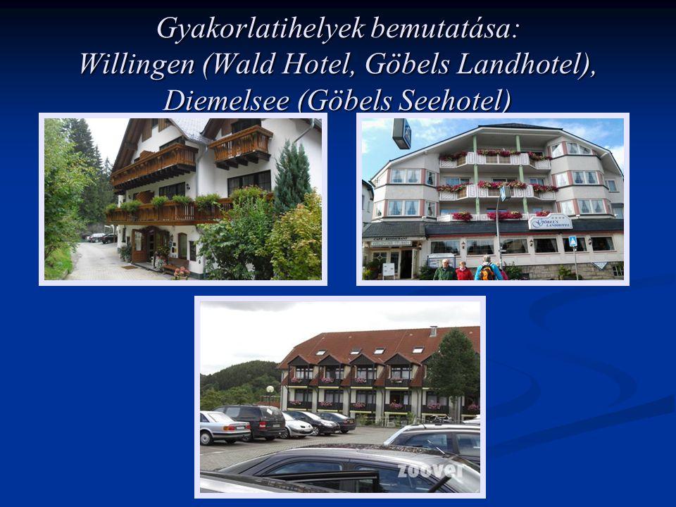 Gyakorlatihelyek bemutatása: Willingen (Wald Hotel, Göbels Landhotel), Diemelsee (Göbels Seehotel)