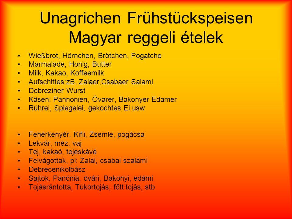 Unagrichen Frühstückspeisen Magyar reggeli ételek