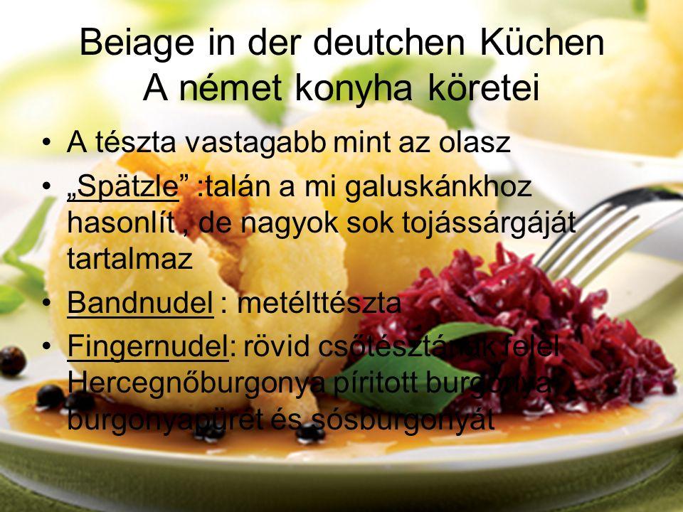 Beiage in der deutchen Küchen A német konyha köretei