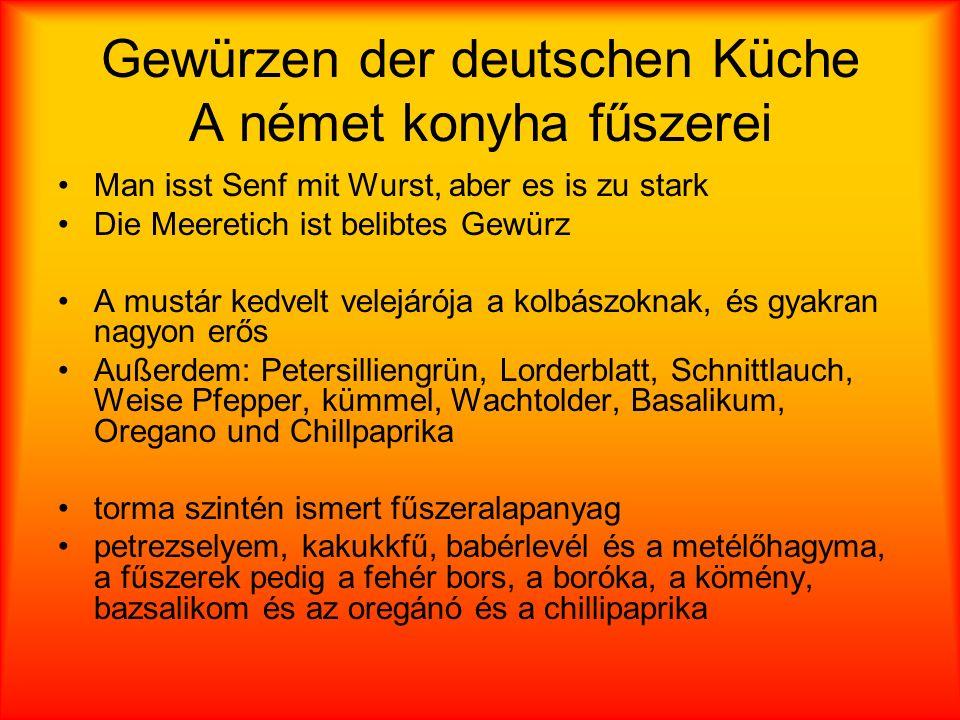 Gewürzen der deutschen Küche A német konyha fűszerei