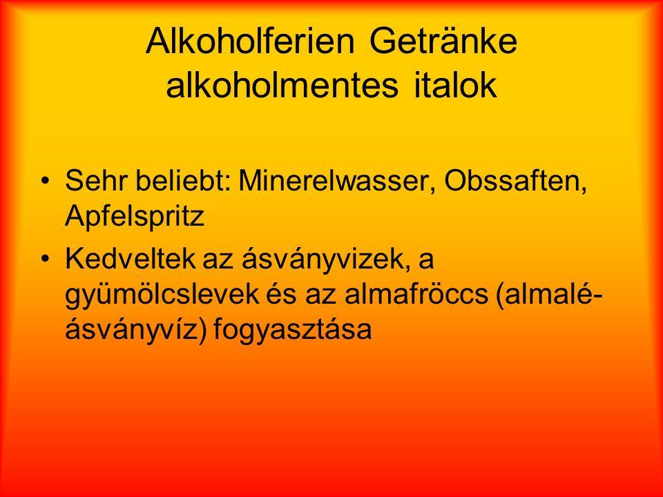 Alkoholferien Getränke alkoholmentes italok