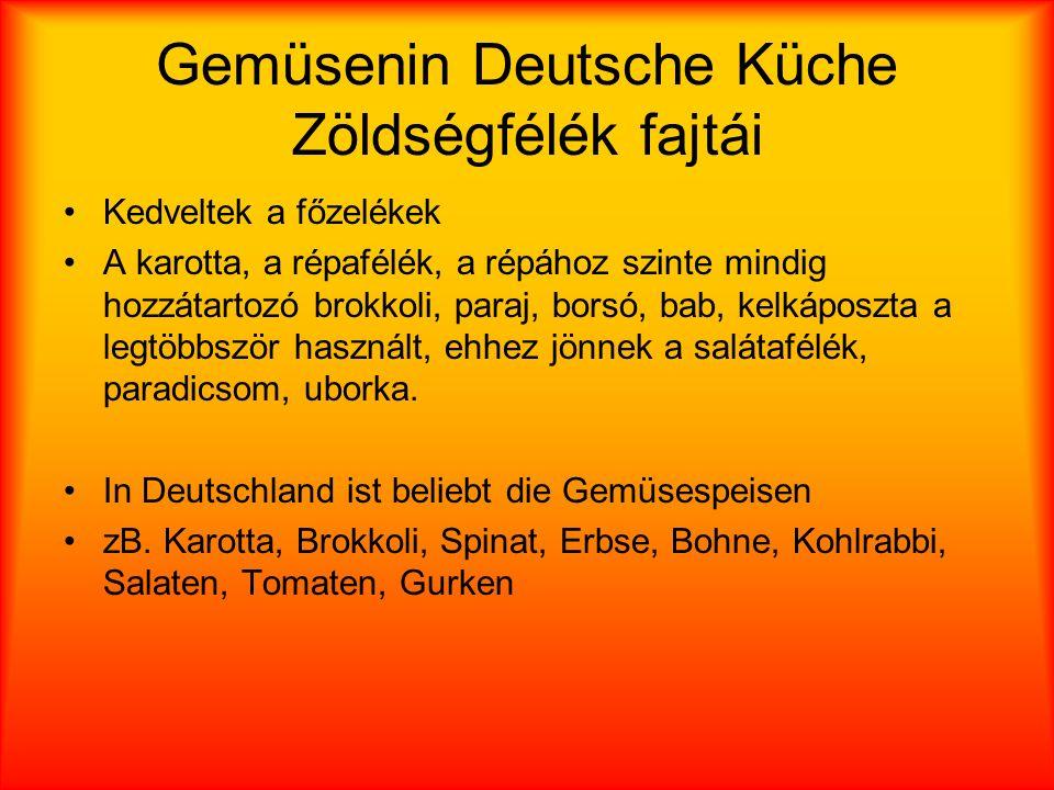 Gemüsenin Deutsche Küche Zöldségfélék fajtái
