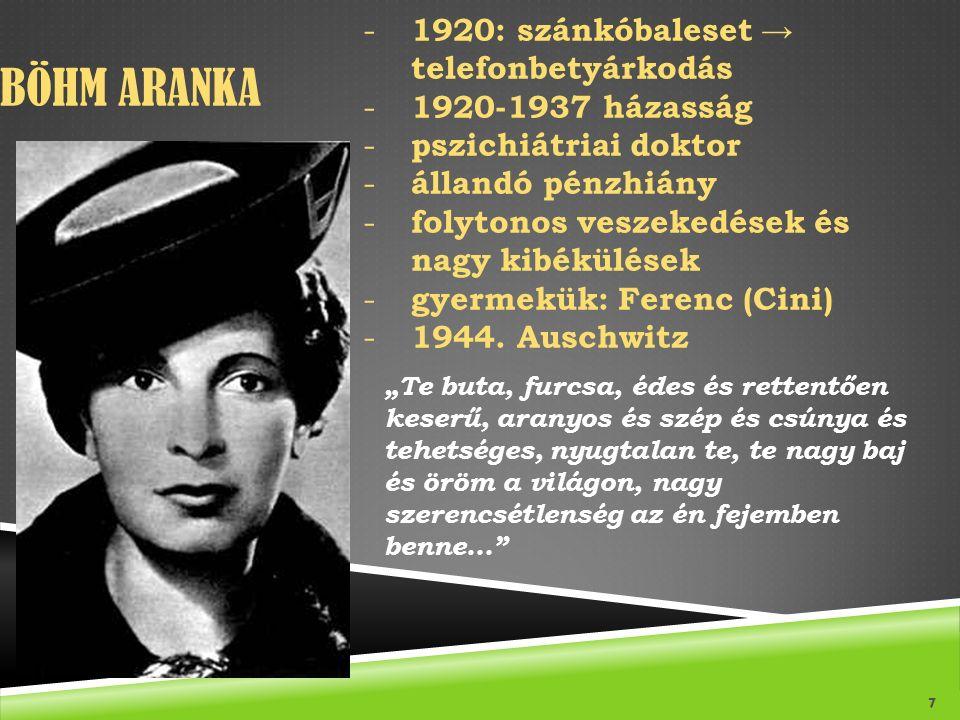 Böhm Aranka 1920: szánkóbaleset → telefonbetyárkodás