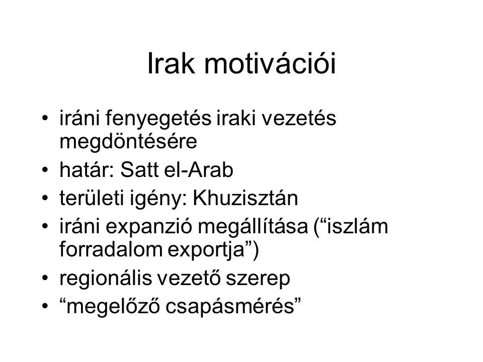 Irak motivációi iráni fenyegetés iraki vezetés megdöntésére